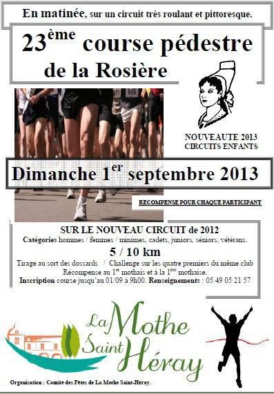 RDV CE DIMANCHE 1 SEPTMBRE, A LA MOTHE ST HERAY POUR LES 10KM COURSE A PIED...