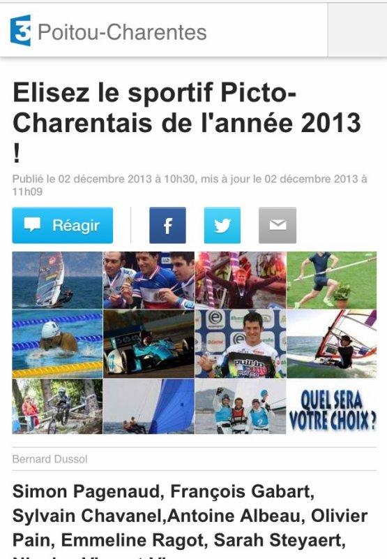 PLUS QU'UNE SEMAINE POUR VOTER! RENDEZ-VOUS SUR http://m.poitou-charentes.france3.fr/2013/12/02/elisez-le-sportif-picto-charentais-de-l-annee-2013-369139.html