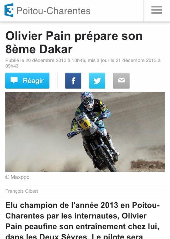 REPORTAGE FRANCE 3 POITOU DAKAR 2014