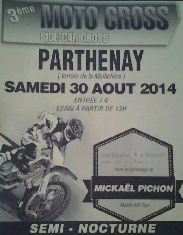 RDV CE WEEK END, SAMEDI 30 AOÛT, À PARTHENAY, POUR SON MOTOCROSS NOCTURNE