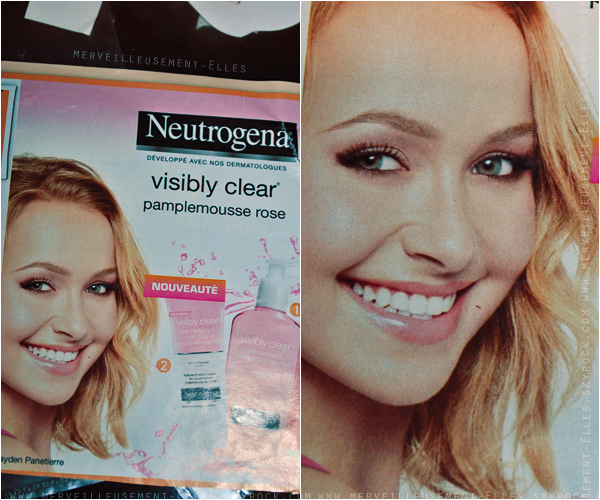 """Δ 06/05/12 :  Hayden apparaît dans nos publicités française depuis peu grâce à son renouvellement pour Neutrogena (dont elle est l'égénie depuis 2007) avec une nouvelle gamme de produit """"Visibly Clear"""". Elle passe également sur nos télévisions! #Happy ♥"""