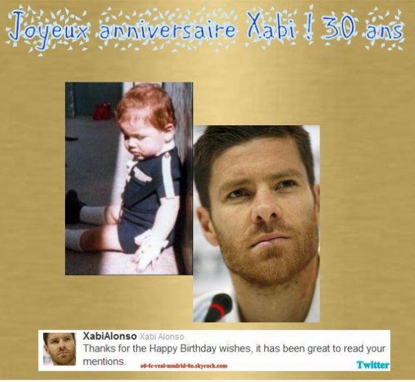 Un bon anniversaire à Xabi Alonso! 30 ans aujourd'hui!