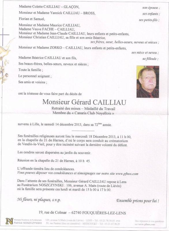 Décès de Gérard Caillau