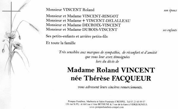 Décès de Madame VINCENT
