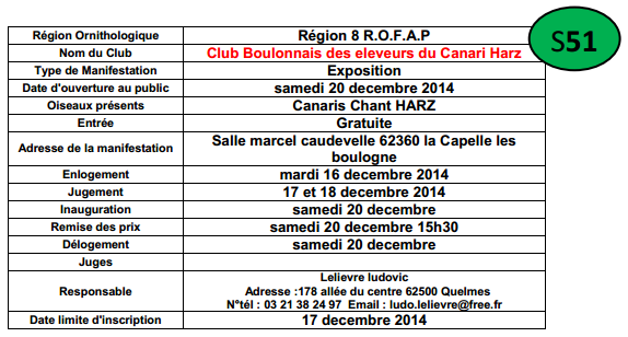 Exposition Club Boulonnais des Éleveurs du Canari Hartz