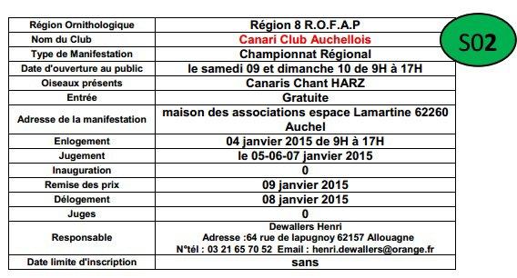 Championnat Regional Canari Hartz Canari Club Auchellois