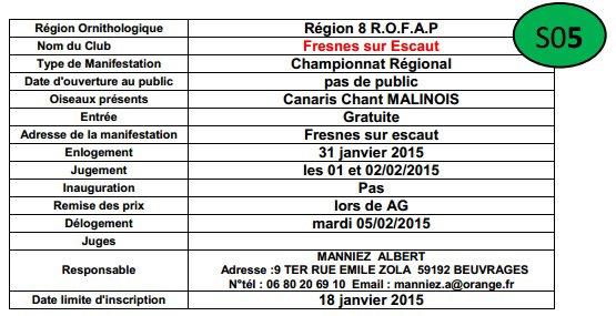Championnat Regional Canari chant Malinois Fresnes sur Escaut