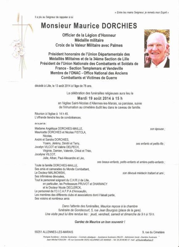 Avis de décés de Monsieur DORCHIES Maurice Membre du Canari Club Lensois
