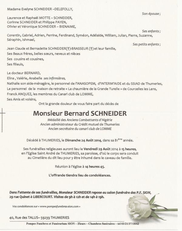 Avis de décès de Monsieur Bernard Schneider