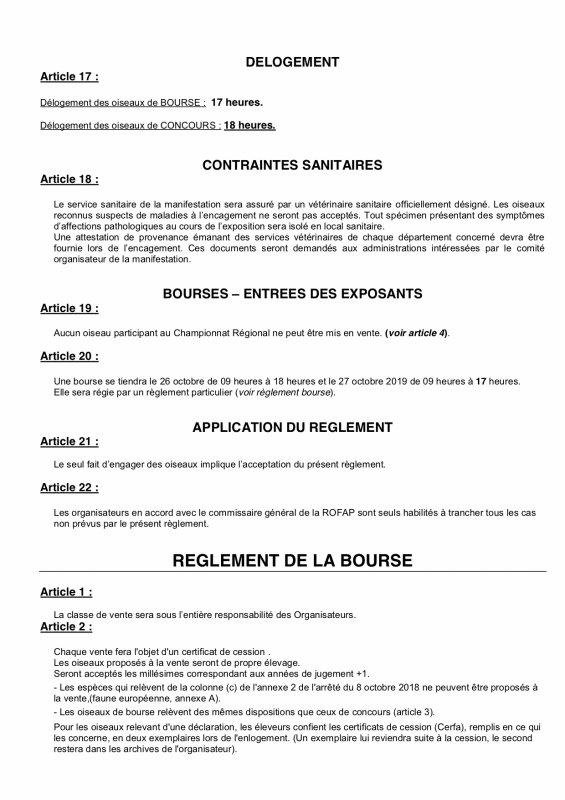Règlement officiel du Régional ROFAP.