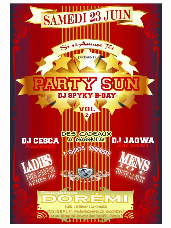 SOIREE PARTY SUN VOL.2 spécial DJ SPYKY BIRTHDAY