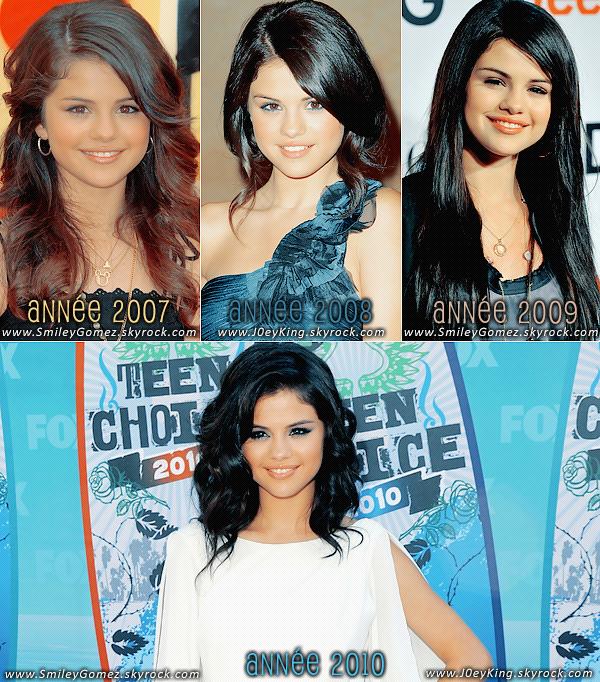 _Observons donc l'évolution de Selena Gomez durant les années 2007 à 2010. Vos avis? Article en collaboration avec la webmiss du blog J0eyKing, ta source sur Joey King & Selena Gomez.
