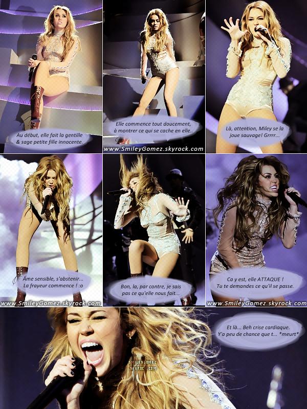 _MILEY CYRUS, OU L'ART D'ÊTRE...D'ÊTRE JE-NE-SAIS-QUOI SUR SCÈNE. ♥ Miley aura beau se déchainer autant qu'elle le veuille, je trouve qu'elle sera toujours au top sur scène! ;)