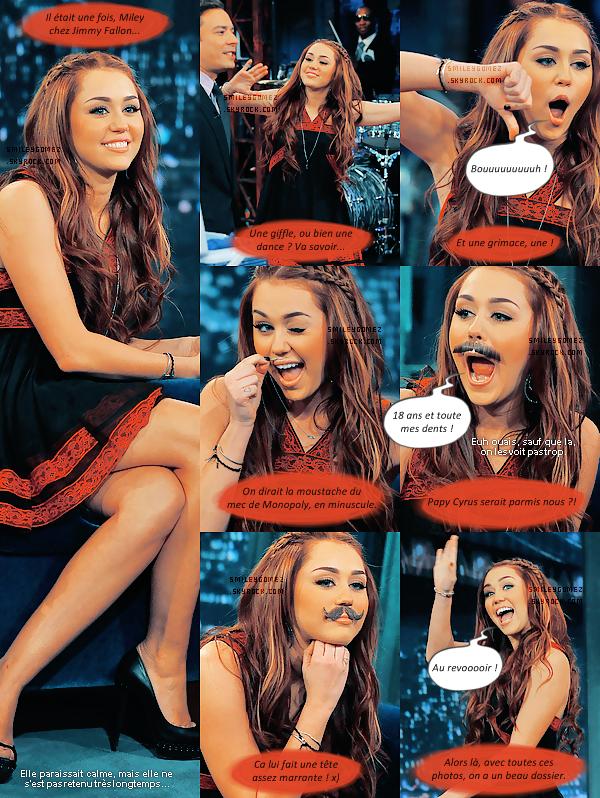 _Photo-dossier : Miley montrant son côté plutôt fou-fou, chez Jimmy Fallon. (ravissante, au passage ♥)