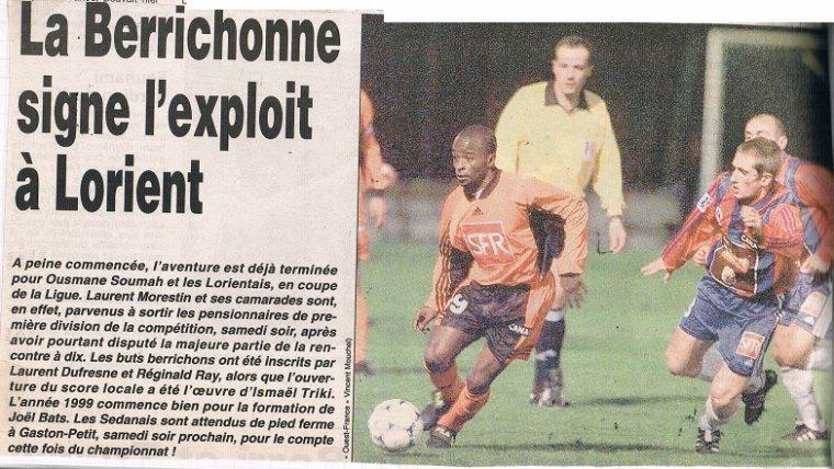 Mathieu Verschuere, coupe de la ligue 1998/1999 (porté à Lorient le 09/01/99, 16ème de finale)
