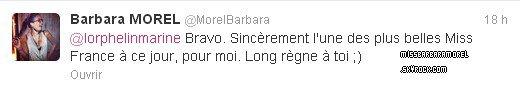 08.12.12 → Barbara a regardé l'élection Miss France 2013 et a félicité la miss.