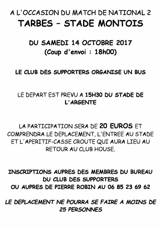 LES SUPPORTERS À TARBES, DEPART AVANCE A 14H30 !