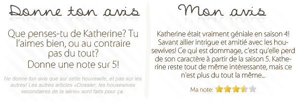 dossier sur les housewives secondaires; Katherine Mayfair.