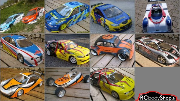 carrosseries auto RC 1/10 1/8 1/6 1/5 1/4