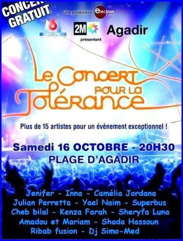 Kenza au concert pour la tolérance à Agadir