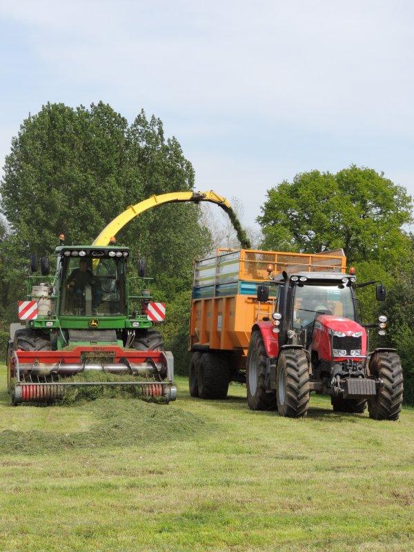 ensilage d'herbe avec le massey 7614 rolland turbovrac +7485 dyna vt avec benne joskin 18t