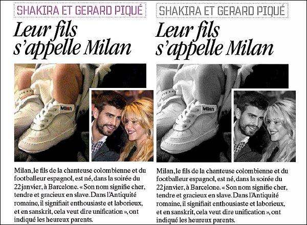 24 Janvier 2013 : Gerard a posté sur Twitter la première photo des pieds de Milanà deux jours à peine le nouveau-né de Shakira a déjà des chaussures à son nom, quelle classe tout de même :p
