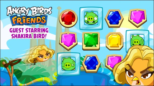 5 Octobre 2015 : Shakira a posté une photo pour le jeu Angry Birds dont elle est l'invitée star. Légende du tweet : Shakira Bird is starring in this week's #AngryBirdsFriends #LoveRocks Tournament ! Shak HQ