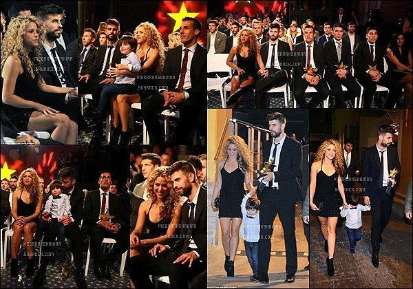 9 Novembre 2015 : Shakira, Gerard & Milan sont allés au Galas Estrella de Futbol à Barcelone Gerard a remporté le prix du meilleur joueur catalan de la saison 2014/15organisé par la Fédération Catalane de Football.