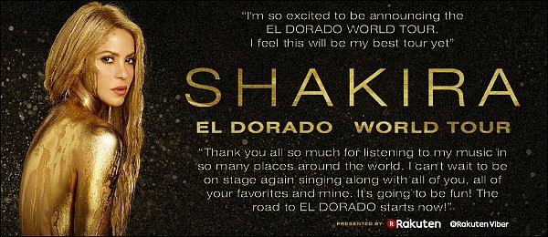 Shakira a annoncé les dates de sa tournée EL DORADO WORLD TOUR !! S. passera à 3 reprises en France, Paris, Lyon & Montpellier. Les dates pour l'Amérique du Sud n'ont pas encore étaient révélées.