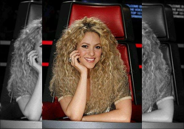 THE VOICE ●EPISODE 20 mai 2013● Photo promotionne de la magnifique S. pour The Voice Shakira en a mis plein la vue avec sa belle crinière de lionne. J'aime bien son haut doré, il est joli et ce genre lui va très bien :)