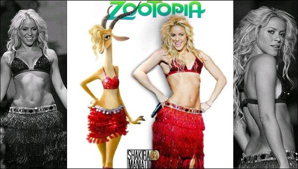 """18 Janvier 2016 : Shakira a posté une nouvelle photoTwitter de son personnage Gazelle Avec en légende tu tweet : """"Qui le porte le mieux ? On dirait que j'ai de la concurrence"""", c'est super sur les deux"""