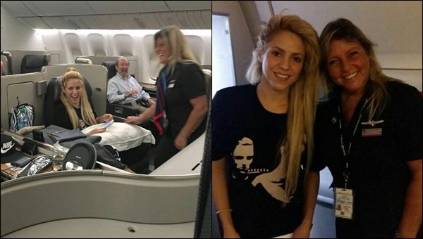 30 Juin 2017 : Shakira et Gerard dans l'avion pour se rentre en Argentine au mariage de Messi L'hôtesse de l'air est trop mignonne ! Elle a dansé Waka waka devant Shakira, voici la vidéo ainsi qu'une photo prise avec Shak :)