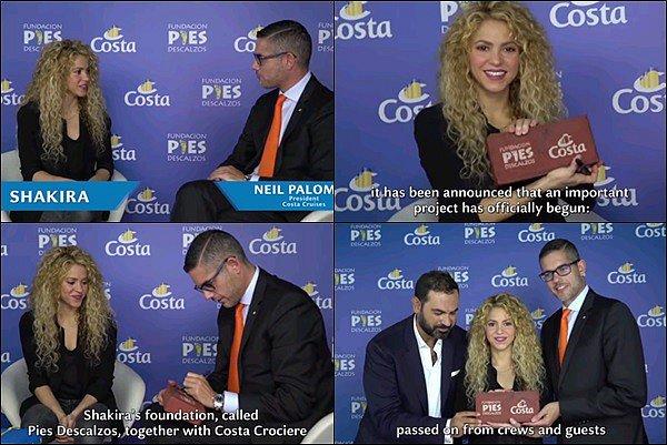 27 Septembre 2017 : Shakira a donné une conférence de presse avec Costa Croisière à Barcelone Conférence de presse donné dans le but d'ouvrir une nouvelle école en Colombie avec sa Fondation Pies Descalzos