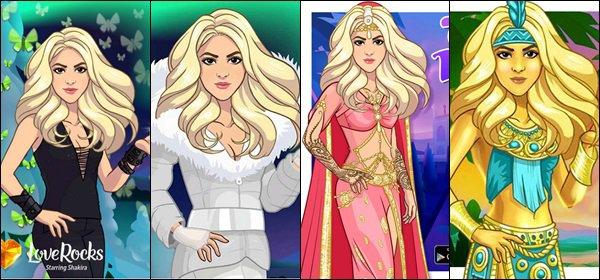 Voici les avatars de Shakira en fonction des niveaux de son jeu LOVE ROCKS, comment la préférez-vous ? En version rock, hivers, Taj Mahal, El dorado... Personnellement je la trouve adorable dans tous les cas♡♡♡