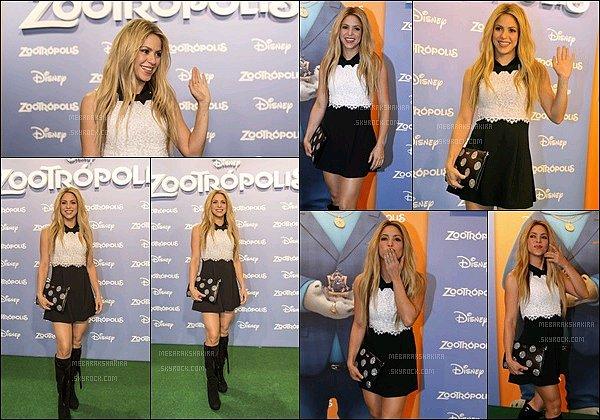 3 février 2016 : Shakiraétait présente à l'avant-première du film d'animation Zootopia à Barcelone Shakira était tellement sublime !! Au TOP sa petite robe. Ces photos sur le tapis rouge avec le reste des membres du film sont super