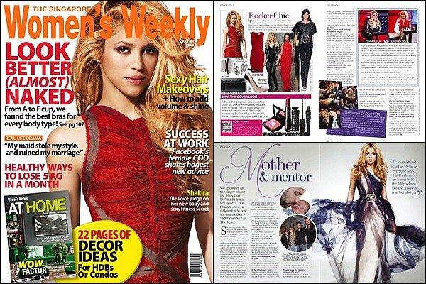 Juillet 2013, Shakira est en couverture du magazine Women's Weekly de Singapour Elle est superbe sur cette couverture de Women's Weekly, j'aime énormément ses cheveux et sa robe rouge