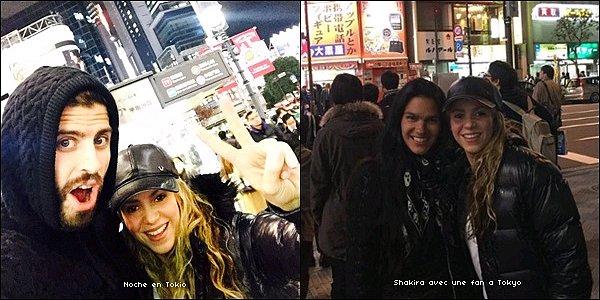 22 décembre 2015 : Shakira a posté une nouvelle photo sur Twitter de Gerard & elle à Tokyo + La jolie blonde a pris une photo avec une fan chanceuse Les deux tourtereaux ont l'air d'apprécier la vie nocturne japonaise