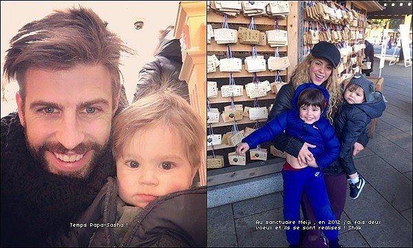 """Nos deux amoureux ont posté de nouvelles photos sur leurs Twitter respectifs avec leurs enfants : le 23 décembre 2015, Gerard a posté une photo avec Sasha """"moment papa-Sasha"""". c'est fou comme il a grandit, il a des yeux magnifiques *_* Puis le 24 décembre 2015, Mlle Mebarak a posté une photo avec ses deux petits loups avec en légende """"Au sanctuaire Meji, en 2012 j'ai fais deux voeux et ils se sont réalisés ! Shak""""."""