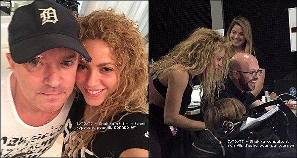 5 Octobre 2017 : Shakira a posté des photos lors d'une répétition pour la tournée EL DORADO WORLD TOUR Shakira est radieuse, elle est toute belle avec ses cheveux ondulés, côté tenue elle est parfaite pour des répétitions. Vos avis ? :)