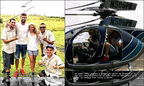 21 juillet 2013 : Shakira & Gérard pêchant sur un bateau durant leurs vacances à Hawaii