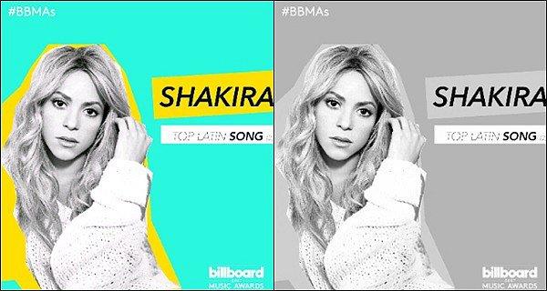 Shakira Mebarak est nominée a deux reprises dans la même catégories avec Chantaje & La Bicicleta aux Billboards Musics Awards !