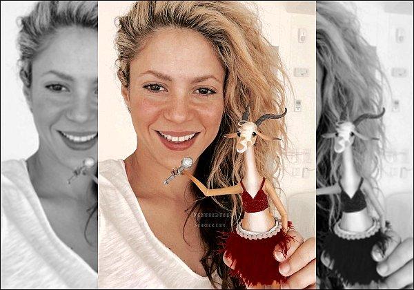 """8 février 2016 : Shakira a posté une nouvelle photo sur Twiter avec une figurine de Gazelle Légende du Tweet de a belle interprète : """"Sasha aime tellement Gazelle qu'il a mangé les franges de sa jupe !! Shak"""""""