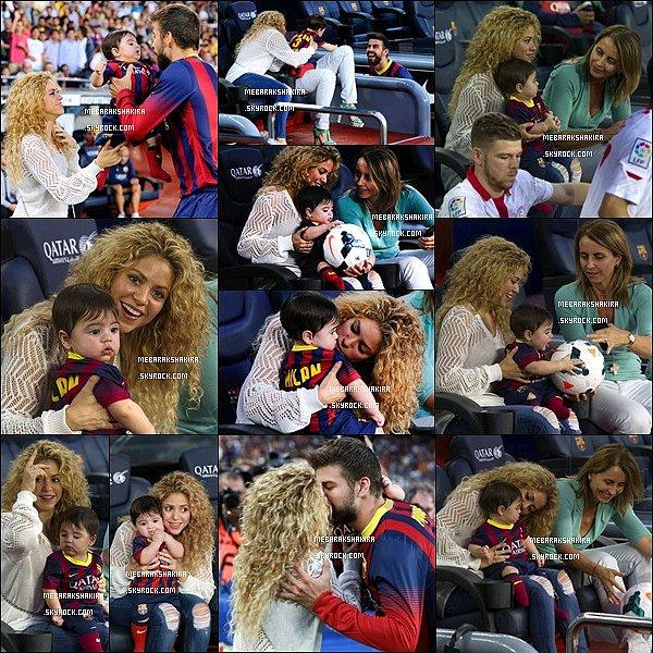 14 septembre 2013 : Shakira, sa belle-mère & Milan au match FC Barcelona-Sevilla FC au Camp Nou Ils sont adorables à venir supporter Gerard comme ça, J'aime beaucoup les photos où Gerard va les voir à la fin du match.
