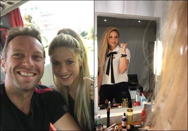 6 Juillet 2017 :Shakira a posté de nouvelles photos sur Insta, dont une en compagnie de Chris Martin La belle colombienne et le chanteur de Coldplay se sont rendus au Global Citizen Festival à Hamburg en Allemagne