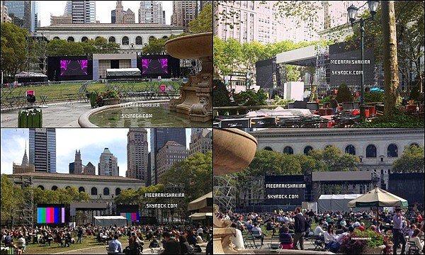 4 Octobre 2013 : T-Mobile a posté une photo annonçant un concert de Shakira le 9/10/13 à Bryant Park + Le 5 Octobre 2013 : Shakira a posté des photos sur les réseaux sociaux en train de répéter pour son concert à New York.
