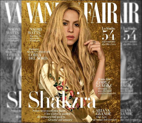 Shakira est en couverture du VANITY FAIR italien du mois de juin 2017 Shakira est absolument ravissante sur ces clichés ! J'adore son maquillage ainsi que ses tenues, une pure merveille♥