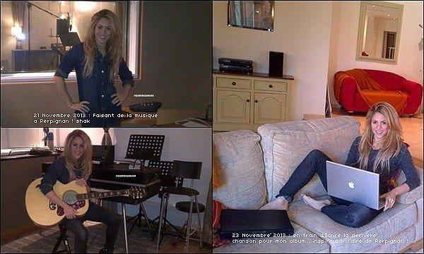 11/13 : Shakira a posté de nouvelles photos en studio d'enregistrement, la belle colombienne a entre autre terminé de composer la dernière chanson de son dixième album éponyme Shakira.