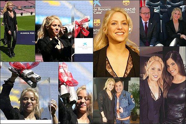 28 mars 2017 : Shakira a donné une conférence de presse pour la construction d'une nouvelle école La belle était en terrain connue, la conférence a eu lieu au Camp Nou. Stade où elle supporte son conjoint lors des match du FCB