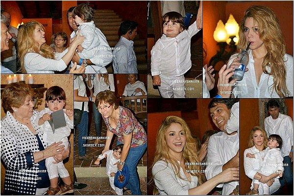25 février 2014 : Shakira, Milanet sa famille à l'hôtel Santa Clara à Cartagena en Colombie Ils sont mignons tous ensembles, Shakira avait un sourire éblouisant, j'adore sa chemise avec ses beaux cheveux détachés