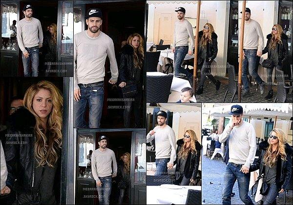 26 avril 2016 : Shakira et Gerard sont allés manger dans lerestaurantPierLuigi àRome en Italie S. est sublimissime ! J'adore ses beaux cheveux longs ondulés *__* sa tenue est TOP, j'aime beaucoup son blouson et vous ? :)